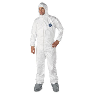 ESDUPTY122SXL - Tyvek Elastic-Cuff Hooded Coveralls W-boots, White, X-Large, 25-carton