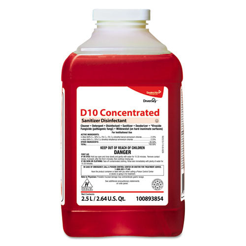 ESDVO100893854 - D10 Concentrated Sanitizer Disinfectant, Unscented, 2.5 L Bottle, 2-carton