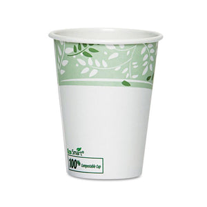 ESDXE2338PLAPK - Ecosmart Hot Cups, Paper W-pla Lining, Viridian, 8oz, 50-pack