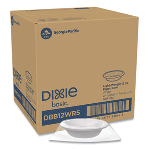 Everyday Disposable Dinnerware, Wrapped In Packs Of 5, Bowl, 12 Oz, White, 5-pack, 100 Packs-carton