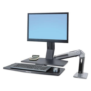 ESERG24314026 - Workfit-A Sit-Stand Workstation W-worksurface+, Lcd Hd Monitor, Aluminum-black