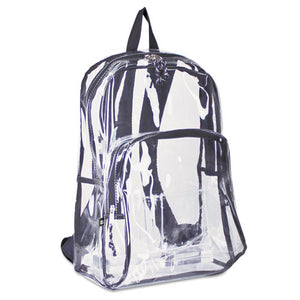 ESEST193971BJBLK - Backpack, Pvc Plastic, 12 1-2 X 5 1-2 X 17 1-2, Clear-black