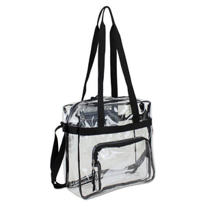 ESEST498000BJBLK - CLEAR STADIUM APPROVED TOTE, 12 X 5 X 12, BLACK-CLEAR