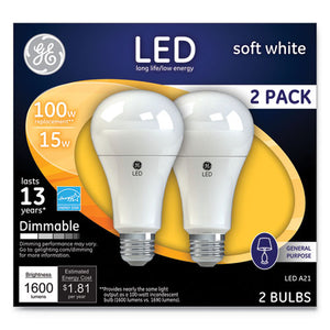 ESGEL65941 - LED SOFT WHITE A21 DIMMABLE LIGHT BULB, 15W, 2-PACK