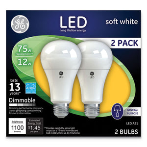ESGEL65943 - LED SOFT WHITE A21 DIMMABLE LIGHT BULB, 12W, 2-PACK