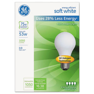 ESGEL66248 - ENERGY-EFFICIENT A19 HALOGEN BULB, SOFT WHITE 53 W, 4-PACK