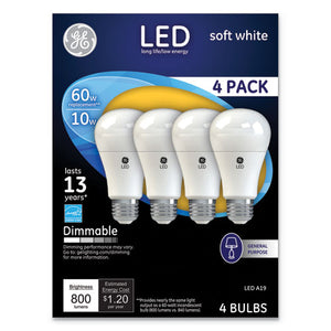 ESGEL67615 - LED SOFT WHITE A19 DIMMABLE LIGHT BULB, 10W, 4-PACK