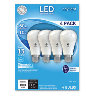 ESGEL67616 - LED DAYLIGHT A19 DIMMABLE LIGHT BULB, 10W, 4-PACK