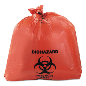 ESHERA8046ZR - Healthcare Biohazard Printed Can Liners, 40-45 Gal, 3mil, 40 X 46, Red, 75-ct