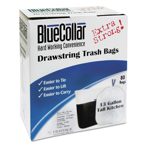 ESHERN4828EWRC1CT - Drawstring Trash Bags, 13gal, 0.8mil, 24 X 28, White, 80-box, 6 Boxes-carton