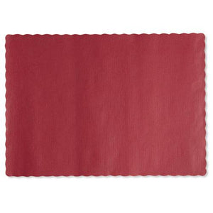 ESHFM310521 - Solid Color Scalloped Edge Placemats, 9 1-2 X 13 1-2, Red, 1000-carton