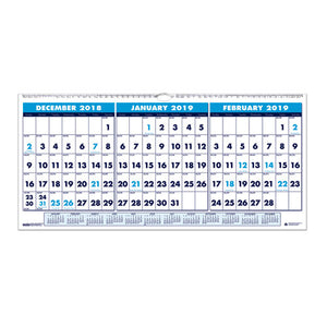 ESHOD3648 - RECYCLED THREE-MONTH HORIZONTAL WALL CALENDAR, 23 1-2 X 12, 14-MONTH, 2018-2020