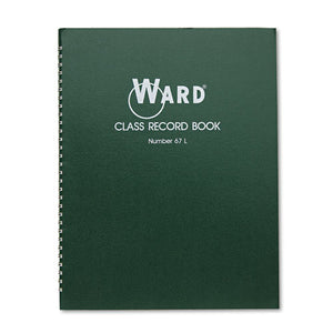 ESHUB67L - Class Record Book, 38 Students, 6-7 Week Grading, 11 X 8-1-2, Green