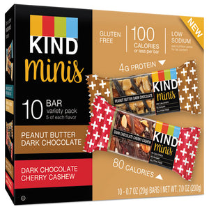 ESKND25719 - Minis, Cherry Cashew-dark Chocolate, Dark Chocolate-peanut Butter, 0.7 Oz, 10-pk
