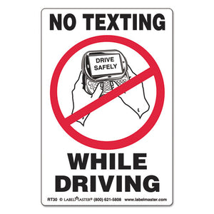 ESLMTRT30 - Self-Adhesive Label, 6 1-2 X 4 1-2, No Texting While Driving, 500-roll