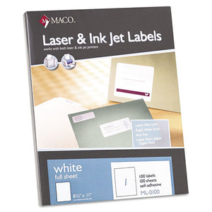 ESMACML0100 - White Laser-inkjet Full-Sheet Identification Labels, 8 1-2 X 11, White, 100-box