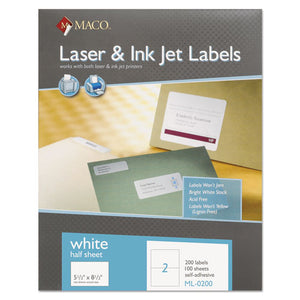 ESMACML0200 - White Laser-inkjet Internet Shipping Labels, 5 1-2 X 8 1-2, 200-box
