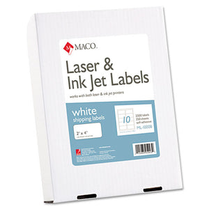 ESMACML1000B - White Laser-inkjet Shipping & Address Labels, 2 X 4, 2500-box