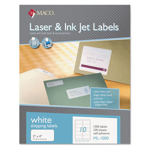 ESMACML1000 - White Laser-inkjet Shipping & Address Labels, 2 X 4, 1000-box