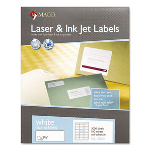 ESMACML3000 - White Laser-inkjet Shipping & Address Labels, 1 X 2 5-8, 3000-box