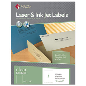 ESMACML4005 - Laser-inkjet Matte Clear Full Sheet Labels, 8 1-2 X 11, 50-box