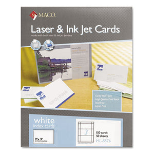 ESMACML8576 - Unruled Microperforated Laser-ink Jet Index Cards, 3 X 5, White, 150-box