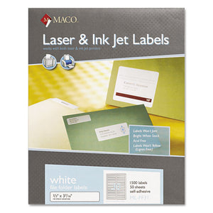 ESMACMLFF31 - Laser-inkjet White File Folder Labels, 2-3 X 3 7-16, White, 1500-box