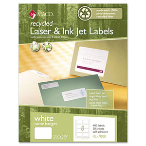 ESMACRL7000 - Recycled Laser-inkjet White Name Badge Labels, 3 3-8 X 2 1-3, White, 400-box