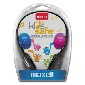 ESMAX190338 - Kids Safe Headphones, Pink-blue-silver