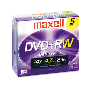 ESMAX634045 - Dvd+rw Discs, 4.7gb, 4x, W-jewel Cases, Silver, 5-pack