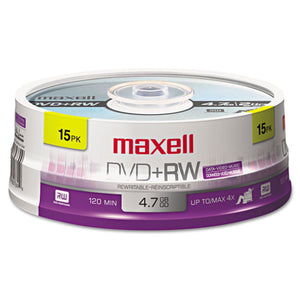 ESMAX634046 - Dvd+rw Discs, 4.7gb, 4x, Spindle, Silver, 15-pack