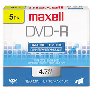 ESMAX638002 - Dvd-R Discs, 4.7gb, 16x, W-jewel Cases, Gold, 5-pack