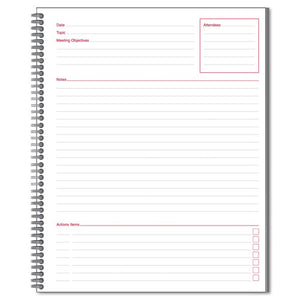 ESMEA06132 - Side Bound Guided Business Notebook, Linen, Meeting Notes, 11 X 8 1-4, 80 Sheets
