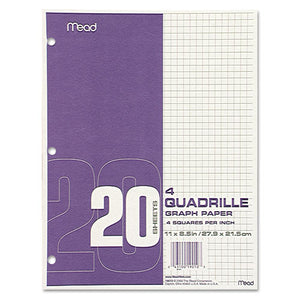 ESMEA19010 - Graph Paper, Quadrille (4 Sq-in), 8 1-2 X 11, White, 20 Sheets-pad, 12 Pads-pack
