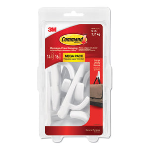 ESMMM17003MPES - General Purpose Hooks, Large, 5lb Cap, White, 14 Hooks & 16 Strips-pack
