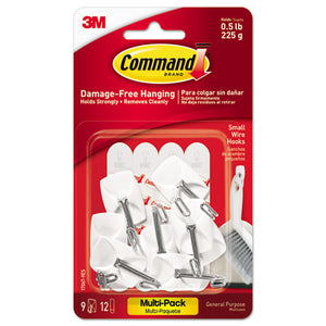 ESMMM170679ES - GENERAL PURPOSE WIRE HOOKS MULTI-PACK, S, 0.5LB CAP, WHITE, 9 HOOKS & 12 STRIPS