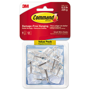 ESMMM17067CLR9ES - Clear Hooks & Strips, Plastic-wire, Small, 9 Hooks W-12 Adhesive Strips Per Pack