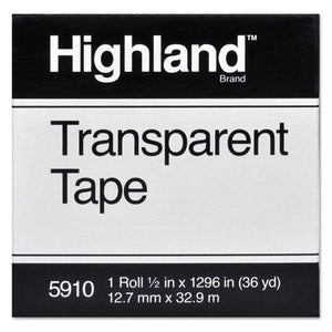 "ESMMM5910121296 - Transparent Tape, 1-2"" X 1296"", 1"" Core, Clear"