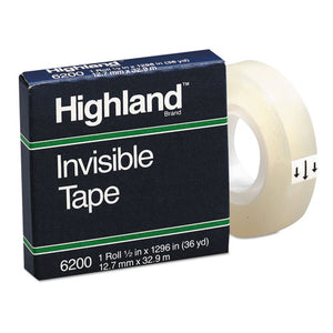 "ESMMM6200121296 - Invisible Permanent Mending Tape, 1-2"" X 1296"", 1"" Core, Clear"