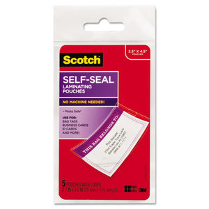 ESMMMLS8535G - Self-Sealing Laminating Pouches, 12.5 Mil, 2 13-16 X 4 1-2, Luggage Tag, 5-pack