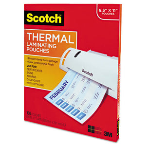ESMMMTP3854100 - LETTER SIZE THERMAL LAMINATING POUCHES, 3 MIL, 11 1-2 X 9, 100-PACK