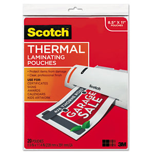 ESMMMTP385420 - Letter Size Thermal Laminating Pouches, 3 Mil, 11 1-2 X 9, 20-pack