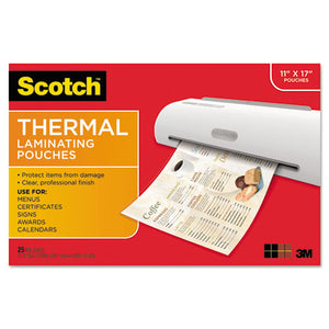 ESMMMTP385625 - MENU SIZE THERMAL LAMINATING POUCHES, 3 MIL, 17 1-2 X 11 1-2, 25-PACK
