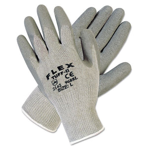 ESMPG9688L - FLEXTUFF LATEX DIPPED GLOVES, GRAY, LARGE, 12 PAIRS