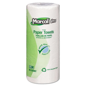 "ESMRC06350 - Perforated Kitchen Towels, White, 2-Ply, 9""x11"", 85 Sheets-roll, 30 Rolls-carton"