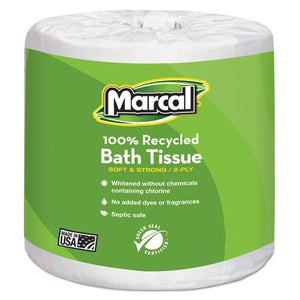 ESMRC6079 - 100% Recycled Two-Ply Bath Tissue, White, 48 Rolls-carton