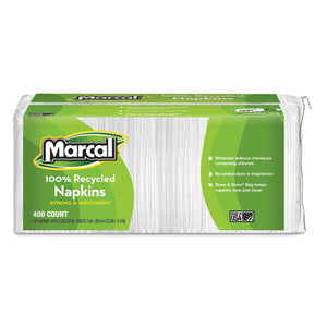 ESMRC6506PK - 100% Recycled Lunch Napkins, 1-Ply, 12 1-2 X 11 2-5, White, 400-pack