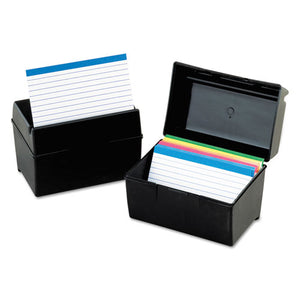 ESOXF01461 - Plastic Index Card File, 400 Capacity, 6 1-2w X 4 7-8d, Black
