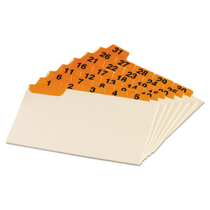 ESOXF03532 - Laminated Index Card Guides, Daily, 1-5 Tab, Manila, 3 X 5, 31-set