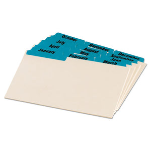 ESOXF04613 - Laminated Tab Index Card Guides, Monthly, 1-3 Tab, Manila, 4 X 6, 12-set